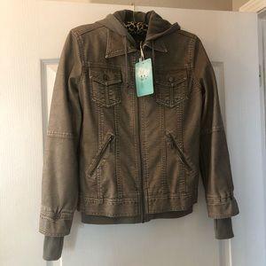 LA Coalition Faux Leather Jacket Zip Lining L NWT